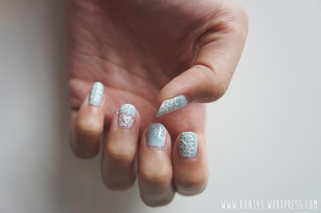 baby blue lace nail art